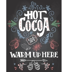Hot cocoa sign on chalkboard background vector