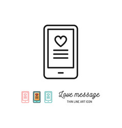 love sms or romantic message icons mobile chat vector image vector image