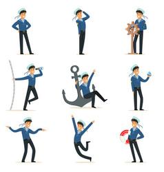 sailor character doing his job set seaman in vector image vector image