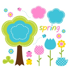 Spring colorful flowers and nature design elements vector image vector image