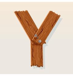 wooden letter y vector image vector image