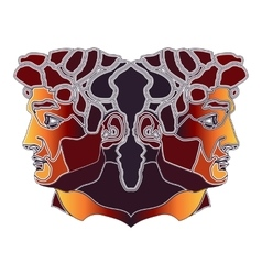 Bright twins portrait zodiac Gemini sign vector image vector image
