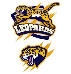 jumping leopard mascot vector image vector image