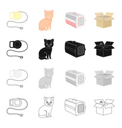 leash for an animal a cat a container for an vector image