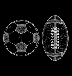 rugby and soccer ball sketch vector image vector image