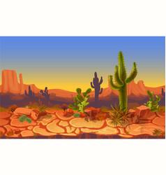 seamless desert horizontal landscape vector image vector image
