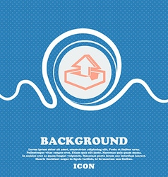 Upload sign icon Blue and white abstract vector image