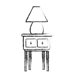 Wooden table with lamp decoration home sketch vector