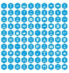 100 career icons set blue vector