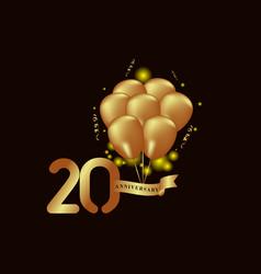 20 year anniversary gold balloon template design vector