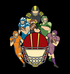 american football player actiongroup of sportsman vector image