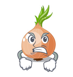 Angry fresh onion isolated on the mascot vector