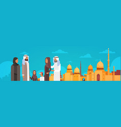 Arab family over muslim cityscape nabawi mosque vector