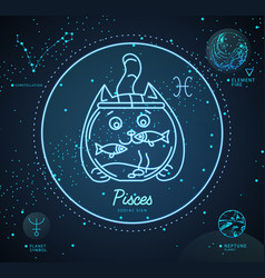 Astrology neon pisces zodiac sign funny cat vector