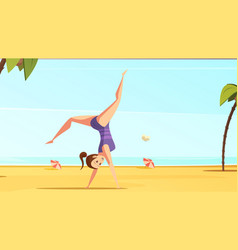 beach acrobatics cartoon composition vector image
