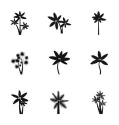 Black palms icons set simple style vector