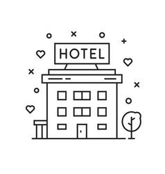 black thin line hotel simple icon vector image