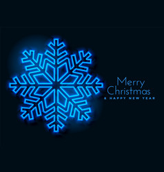 blue neon snowflakes background design vector image