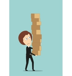 Business woman carrying a giant pile of boxes vector