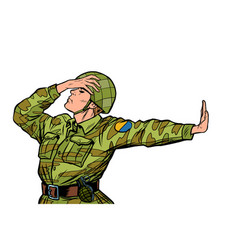 caucasian soldier in uniform shame denial gesture vector image