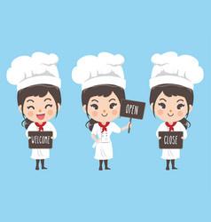 Chef woman vector