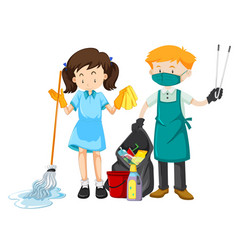 cleaning staff character with equipment vector image