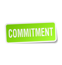 Commitment square sticker on white vector