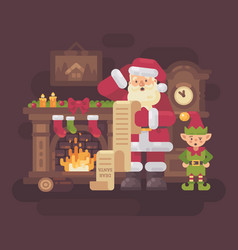 confused santa claus and elf reading a very long vector image