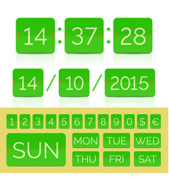 Countdown timer with green flat numbers isolated vector