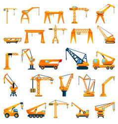 Crane icons set cartoon style vector