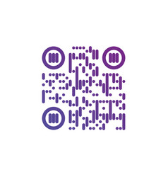 Creative qr code sign round icon scan code symbol vector