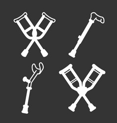 Crutches icon set outline style vector