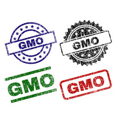 Damaged textured gmo seal stamps vector