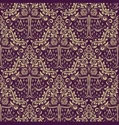 Damask seamless pattern repeating background gray vector