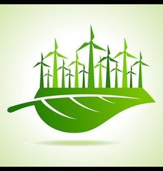 Ecology concept - Leaf with wind mill vector image