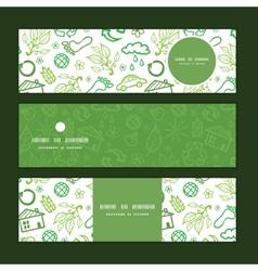 Ecology symbols horizontal banners set pattern vector