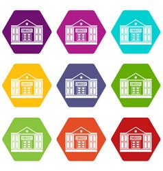 Embassy icon set color hexahedron vector