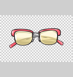 fashionable glasses with coral frame vector image vector image