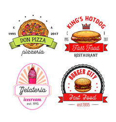 fast food restaurant cafe and pizzeria emblems vector image