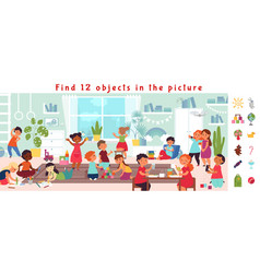 find objects game puzzle play visual kids brain vector image