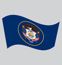 flag of utah waving on gray background vector image