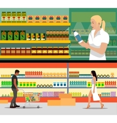Food store interior flat style vector image vector image