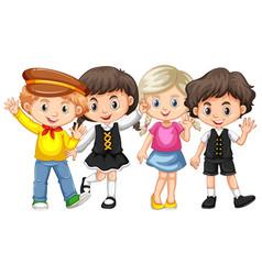 four kids waving hands vector image