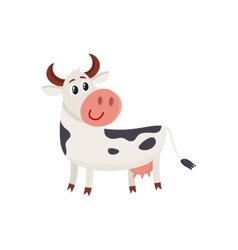 Funny black white spotted cow standing and looking vector image