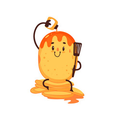 Funny pancake pouring itself with strawberry sauce vector