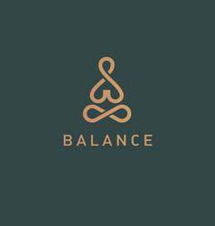 Geometric logo linear icon yoga person balance vector