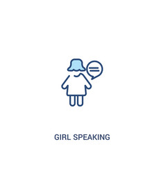 Girl speaking concept 2 colored icon simple line vector