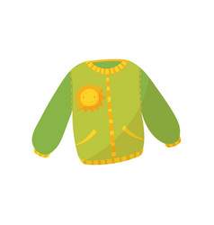 Green warm sweater with pockets and smiling sunny vector