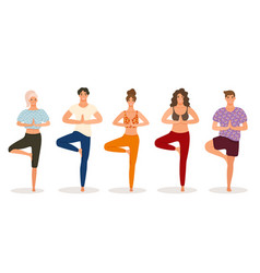 group of young people practicing yoga lesson vector image
