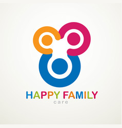 happy family logo or icon created with simple vector image